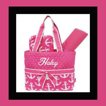 Anchor Pattern Quilted Personalized Diaper Bag