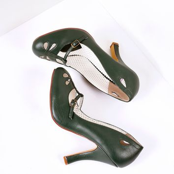 Forest Green Pleather Cut Out Strap Smitten Mary Jane Heels