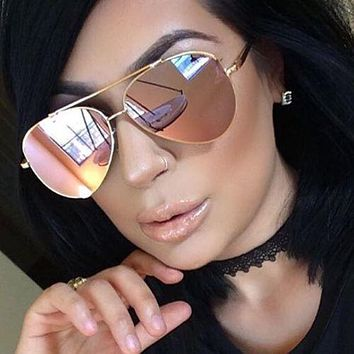 Elite Aviator Style Metal Frame Mirrored Lens Fashion Mens Womens Sunglasses