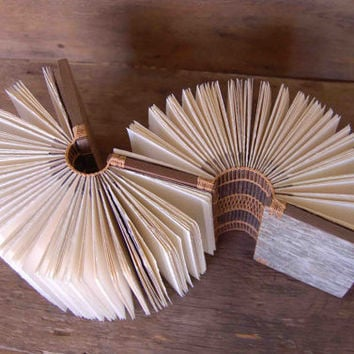 Rustic wood double journal / book, birch bark with woodland brown