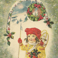 Little Girl with Snowshoes Vintage Christmas Postcard - Wishing you a Right Merry Christmastide