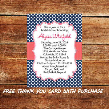 Polka Dot Bridal Shower Invitation Navy Blue and Coral - Printable Wedding Shower Invite with FREE Thank You Card