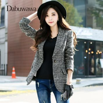 Trendy Dabuwawa Black Spring Women Suit Vintage Plaid Coat Slim Woolen Outerwear Female Formal Jacket AT_94_13