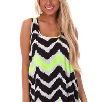 Black and Lime Chevron Bow Back Tank