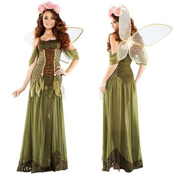 high quality Flower Fairy Costume sexy green elf cosplay Dress wings fairy Forest  clothing Halloween costume for womenKawaii Pokemon go  AT_89_9