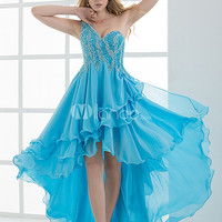 A-line Blue Beading One-Shoulder Asymmetrical Women's Prom Dress