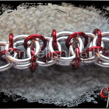 "Silver / Red ""Lucid"" Chainmaille Bracelet ~Nickel & Lead Free~ Funky and Great for men or women. Variety of colors to customize your own!"