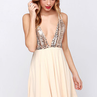 Tasty Strappuchino Cream Sequin Dress