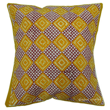 Orange Hand Block Contemporary Decorative Accent Pillow Cover