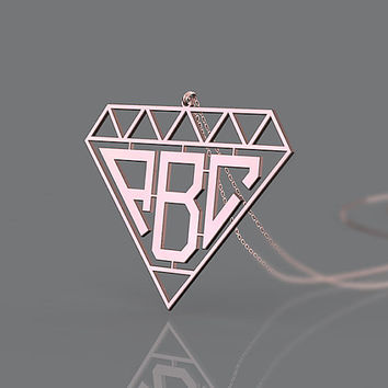 Rose gold plated monogram necklace 1.25 inch or customized jewelry necklace for present