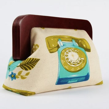 Wooden frame clutch bag - Rotary in teal and green - Trip purse / Melody Miller / turquoise blue olive / Mod retro phone / Vintage inspired