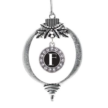 My Vintage Initials - Letter F Circle Charm Holiday Ornament