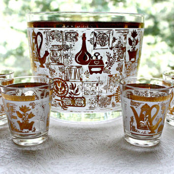 Retro Barware, Ice Bucket with Four Shot Glasses, Hazel Atlas Colony design