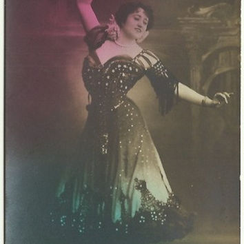 Antique Postcard Real Photograph RPPC Gypsy Woman Dancing Spanish Dancer Colorized in Pink and Green Very Early 1900s