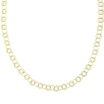 14K Yellow Gold Shiny Textured Alternate Single+Double Round Link Long Link Fancy Necklace with Lobster Clasp