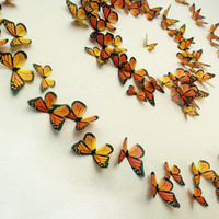 Monarch Butterflies 3D Wall Art- Set of 100