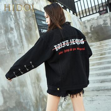 Denim Jacket Hole Pin Gothic Letter Embroidery Print Coat Black Single Breasted Bomber Women  Brand Hip Hop Punk Rock Kanye West