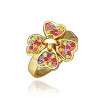 18K Yellow Gold Plated Multi-Color Swarovski Elements Crystals Four Leaf Colover Ring, Size 8