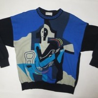80s VTG Gianni Bugli Abstract Deco Face Fancy ART Sweater, Italy Made Large