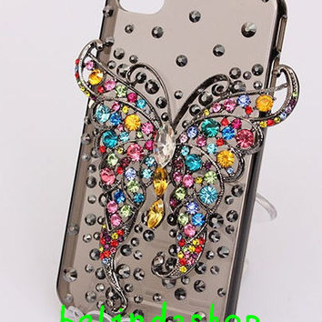 iphone 5s 5c case Bling iphone 5 case colorful crystals butterfly 3D iphone 4 case , iphone 4s cover,samsung galaxy s3 case, galaxy s4 case