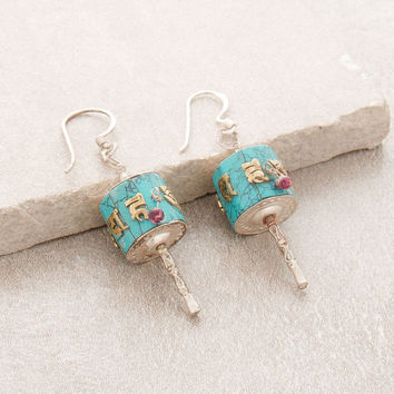 Turquoise Silver Prayer Wheel Earrings
