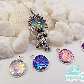 Mermaid scale necklace, swinging mermaid necklace, detailed mermaid necklaces, nautical gift, mermaid party favors, bachelorette party favor