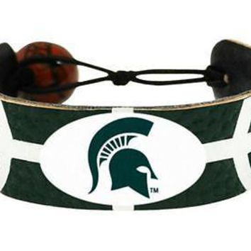 Michigan State Spartans NCAA Team Color Basketball Leather Bracelet