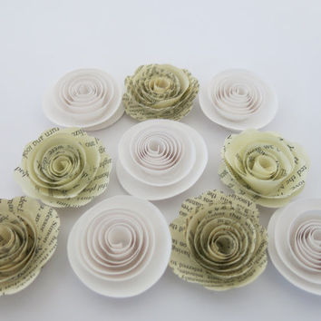 "White and Book page paper flowers, 10 piece set, 1.5"" roses, modern wedding theme, baby shower decor, place setting favors table decor"