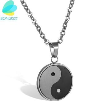 Boniskiss 2017 New Stainless Steel Yin Yang Pendant Necklace Black White Necklace Men Necklaces Jewelry Fashion Erkek Kolye