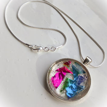 Funky Retro Colourful Silver Gem Style Necklace / Holographic / Geometric