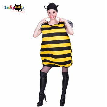 Eraspooky adult costume female 2018 yellow striped jumpsuits and hat set Christmas cosplay carnival Bee costume women Halloween