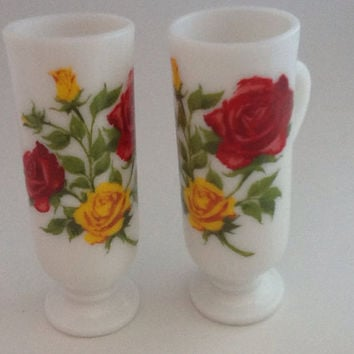 Vintage milk glass cups with red and yellow rose transfer set of two