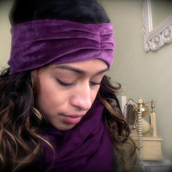 Velvet Purple Pleaded Headband - Vintage Fabric. Top-stitched in the front. Soft. Cozy. Warm