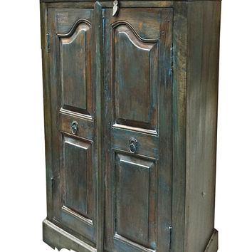 Indian Blue Patina Taek Wood Armoire Antique Old World Cabinet Furniture 2 Shelves