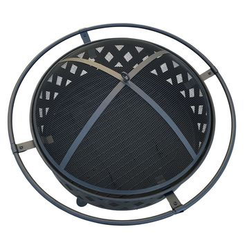 """Wood Burning 32"""" Outdoor Black Fire Pit"""