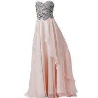 VILAVI A-line Strapless Floor-length Chiffon Crystal Sequin Graduation Dresses