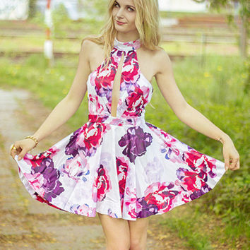 Floral Dress Spring - Multicolour Halter Floral Painted Patterns Print Flare Dress