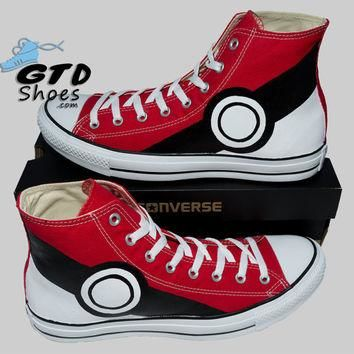 Hand Painted Converse Hi Sneakers. Pokemon. Pikachu. Anime. Cartoon. Handpainted shoes