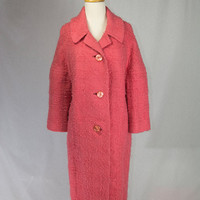Vintage 1950s Coat PINK Lambswool Oversized Swing