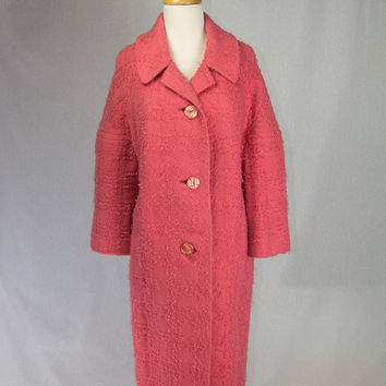 Vintage 1950's Coat PINK Lambs Wool Swing Oversized
