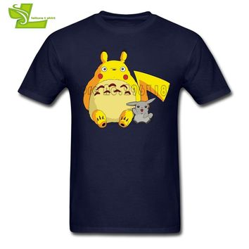 My Neighbor Totoro  Adult T Shirt Fashion Custom Made T-Shirt Men's Short Sleeve 100% Cotton Tshirts Dad Simple ClothesKawaii Pokemon go  AT_89_9