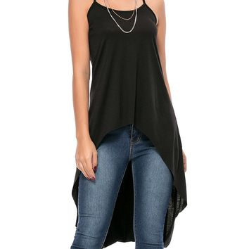 Casual X-Back High-Low Spaghetti Strap Plain Sleeveless T-Shirt