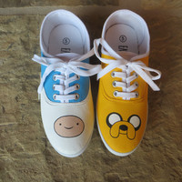 Hand Painted Shoes - Finn and Jake