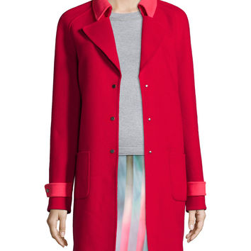 Lisa Wool-Blend Mid-Length Coat, Size: MEDIUM, POPPY - Elie Tahari