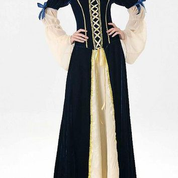 Blue Velvet Halloween Princess Cosplay Flare Sleeve Maxi Dress