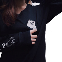 Alien Graphic Ripndip Middle Finger Cat Pocket T Shirt