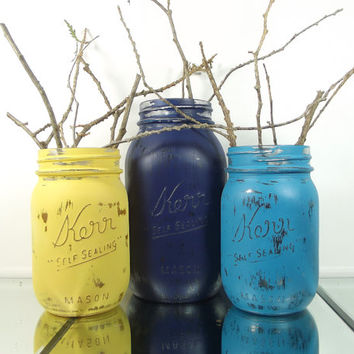 Country Home Decor, Hand Painted Mason Jars, Mason Jar Vase Set - Rustic Decor, Wedding Decor, Distressed Mason Jars, Flower Vases