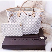 LV Stylish Women Shopping Bag Leather Tote Handbag Shoulder Bag Purse Wallet Set Two-Piece I