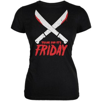 ESBGQ9 Thank God Its Friday Horror Black Juniors Soft T-Shirt