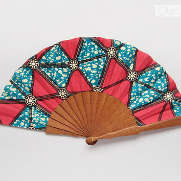Ankara hand fan with case - Hot pink